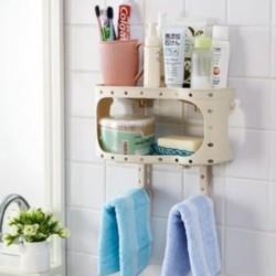 منظم بلاستيكي لاغراض الحمام يحتوي على تعليقتين و رفين