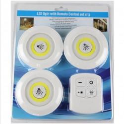 ٣ مصابيح اضاءة ليد مع جهاز تحكم عن بعد