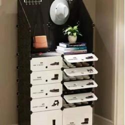 خزانة أحذية بلاستيكية 10 دفات مع جوانب عالية
