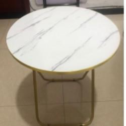 طاولة دائرية سهلة الطوي بنقشة الماربل حجم كبير