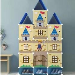 خزانة أطفال بلاستيك على شكل قلعة مع رف سفلي للأحذية