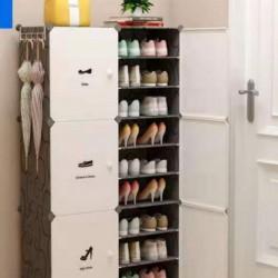 خزانة أحذية بلاستيكية ( موديل رقم 6) بدفتين و ٩ طبقات داخلية و علاقات جانبية