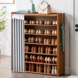 خزانة أحذية خشبية مع ستارة
