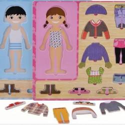 لعبة تركيب الملابس الخشبية